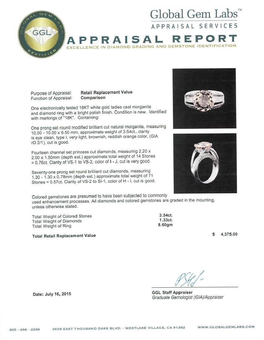 3.54 ctw Morganite and Diamond Ring - 18KT White Gold - 4