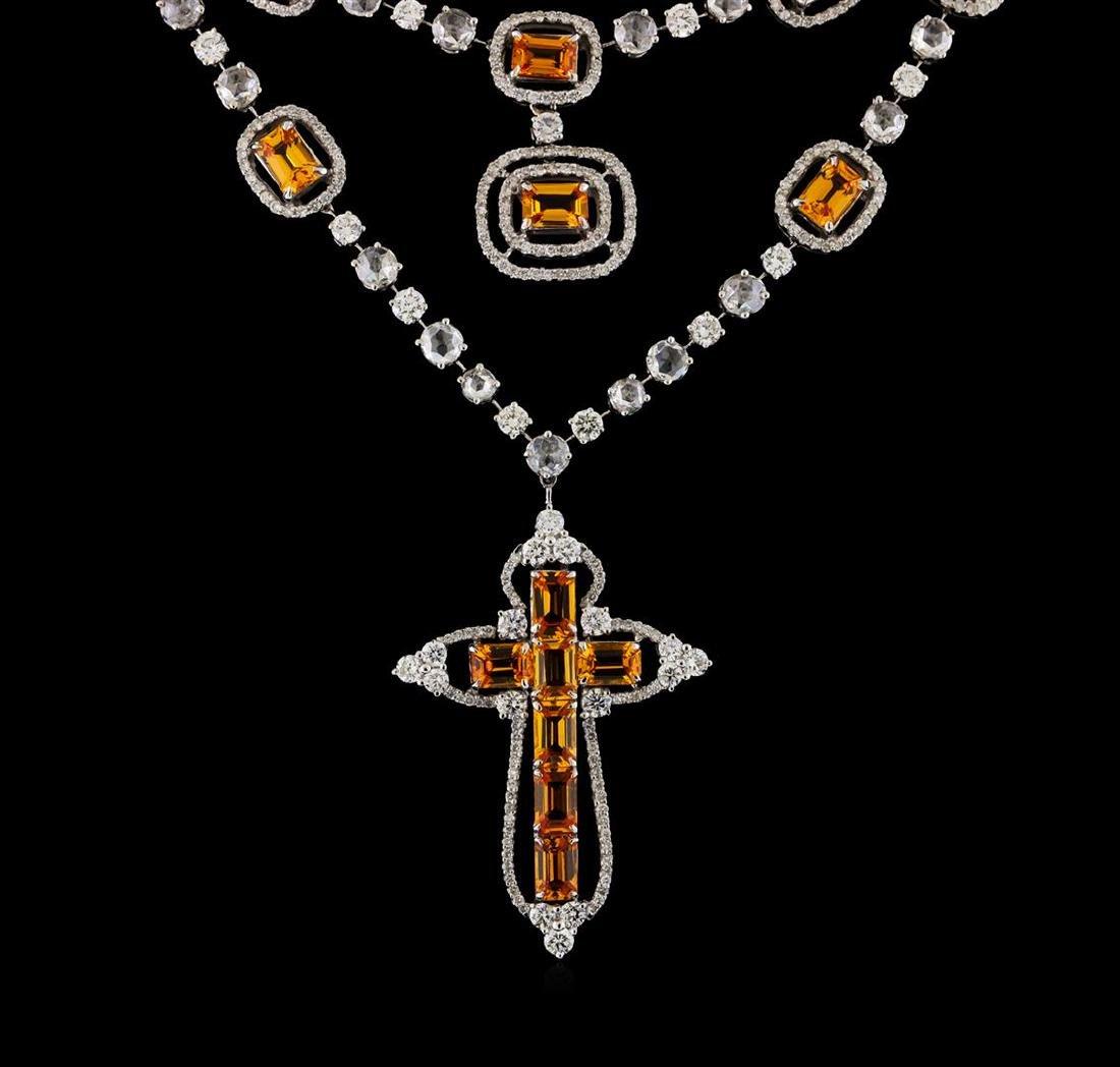 11.41 ctw Orange Sapphire and Diamond Necklace - 18KT - 2