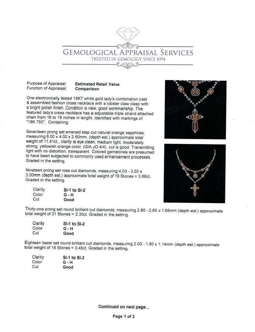 11.41 ctw Orange Sapphire and Diamond Necklace - 18KT - 3