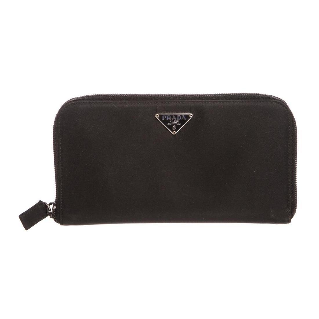 Prada Black Nylon Leather Zipper Wallet