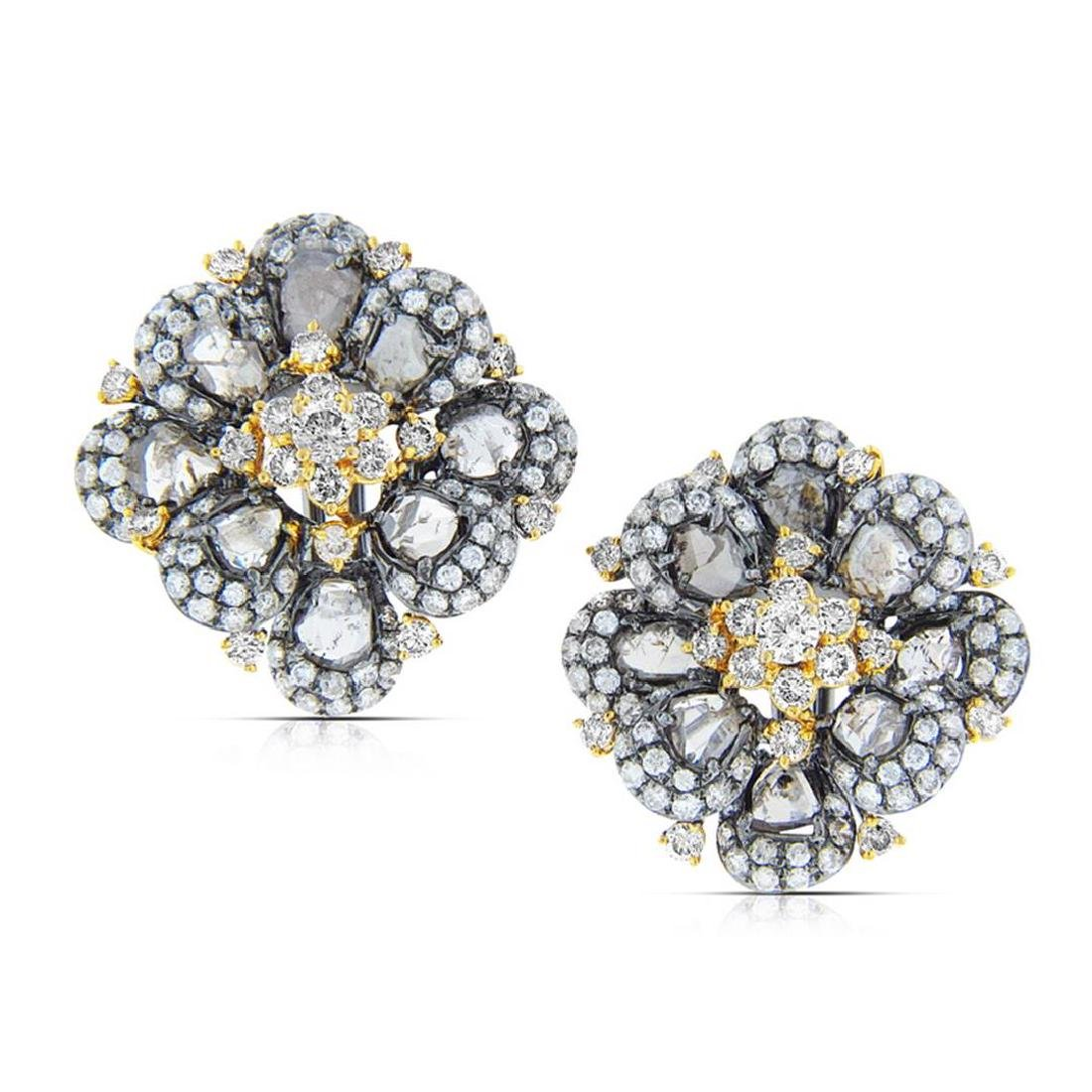 18k Two Tone Gold  6.31CTW Diamond and Sliced Dia