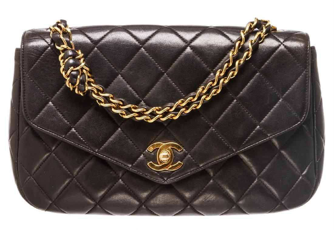 Chanel Black Lambskin Leather Vintage Envelope Single