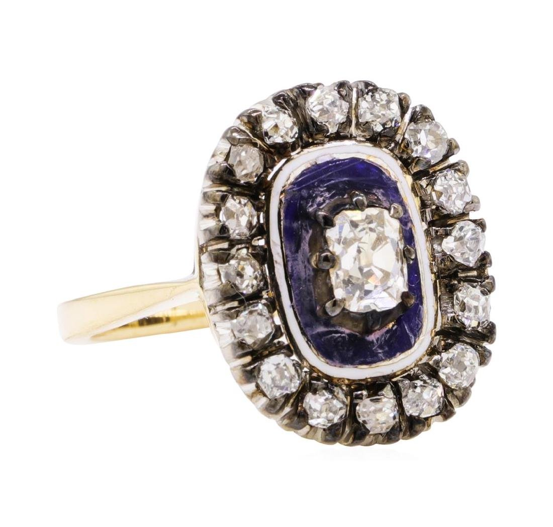 1.00 ctw Diamond Vintage Ring - 18KT Yellow and White