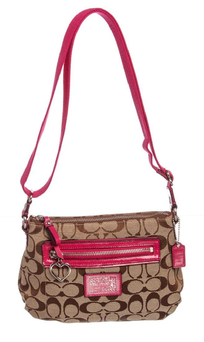 Coach Brown Monogram Canvas Pink Patent Leather Small