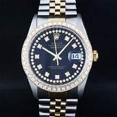 Rolex Mens 2 Tone 14K Black String VS Diamond Datejust
