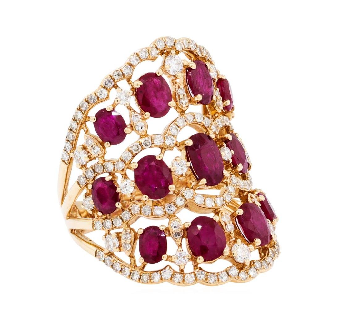 3.90 ctw Ruby and Diamond Ring - 14KT Rose Gold