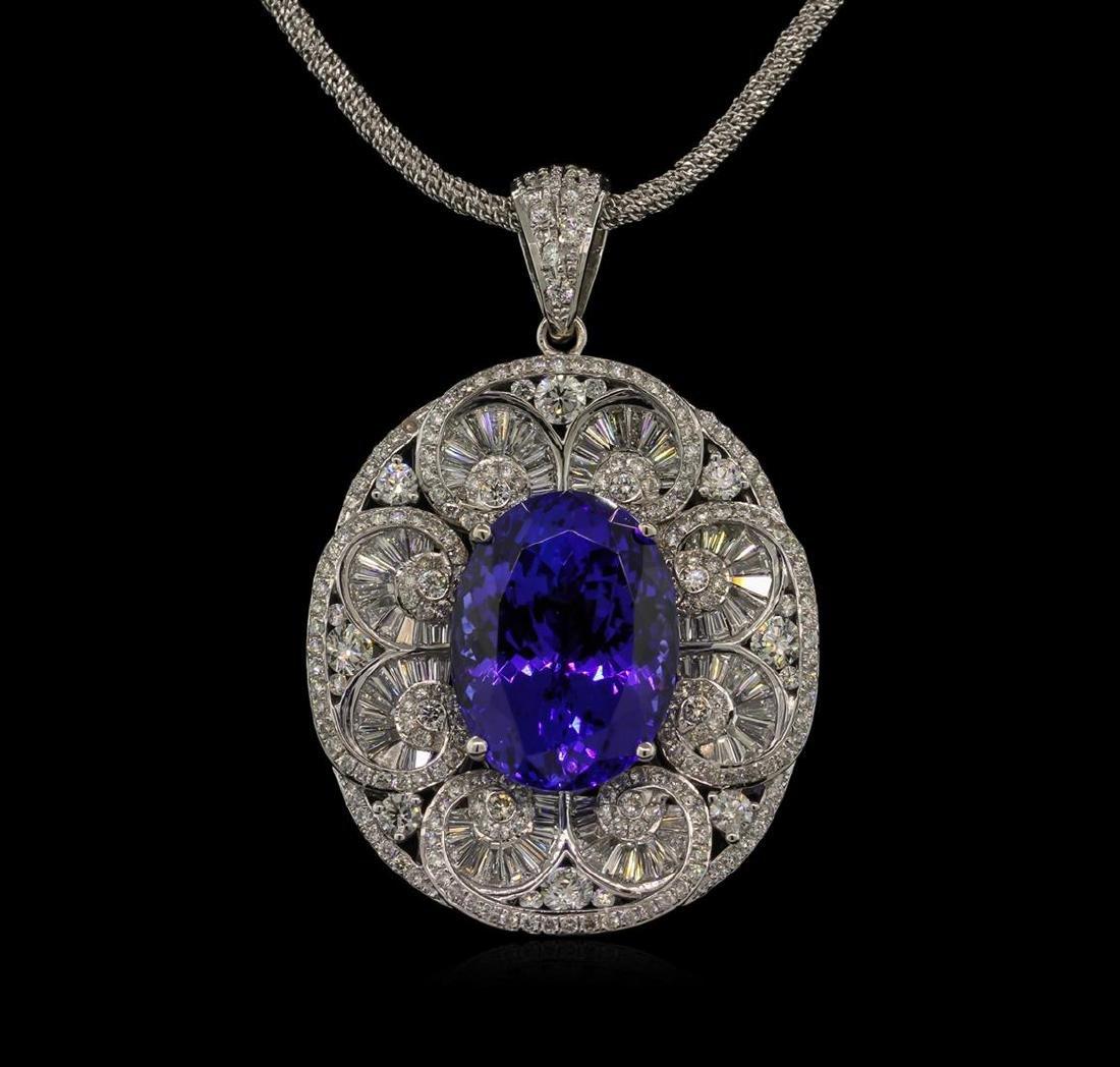 21.34 ctw GIA Cert Tanzanite and Diamond Pendant With