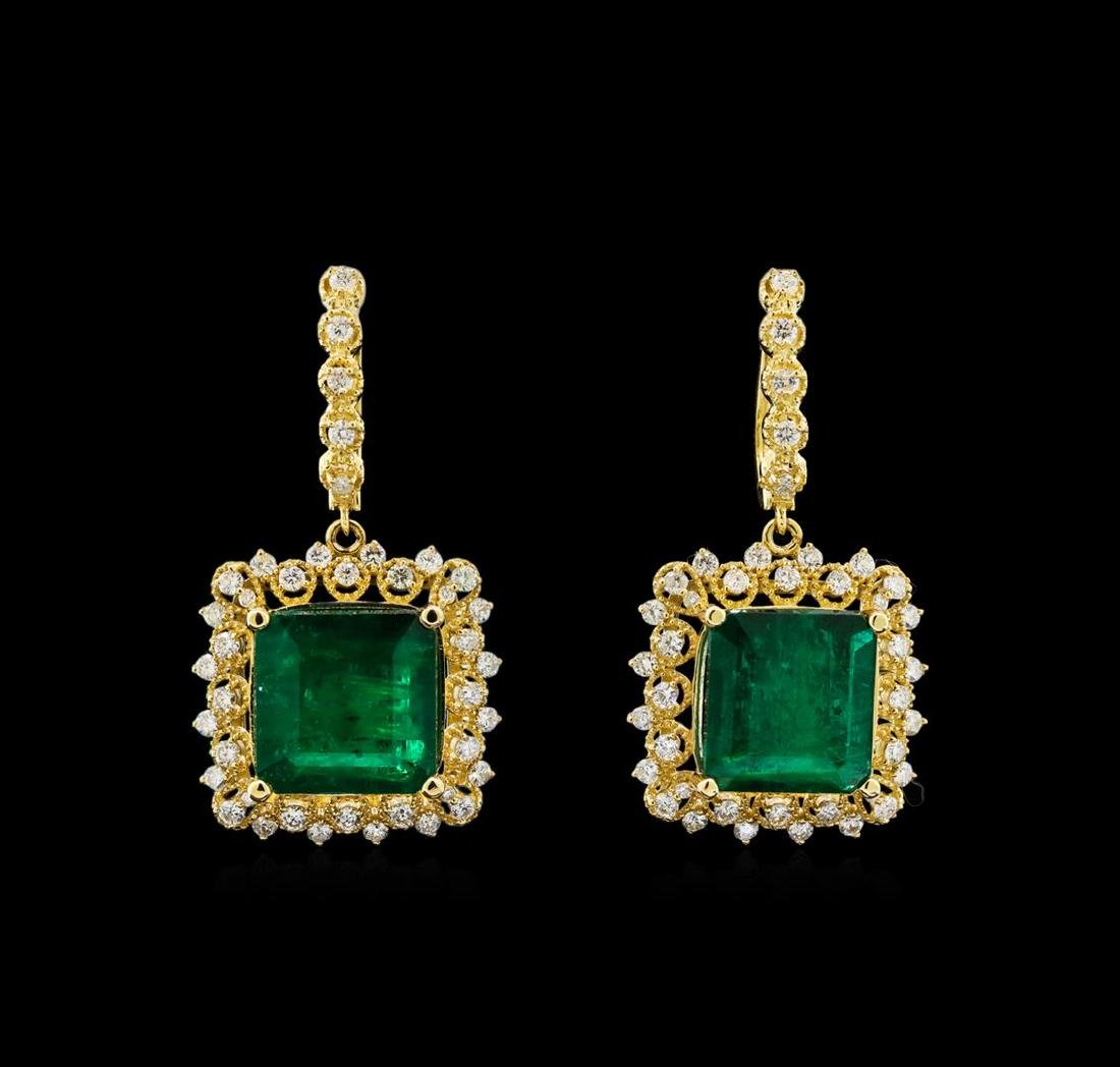 14KT Yellow Gold 14.74 ctw Emerald and Diamond Earrings