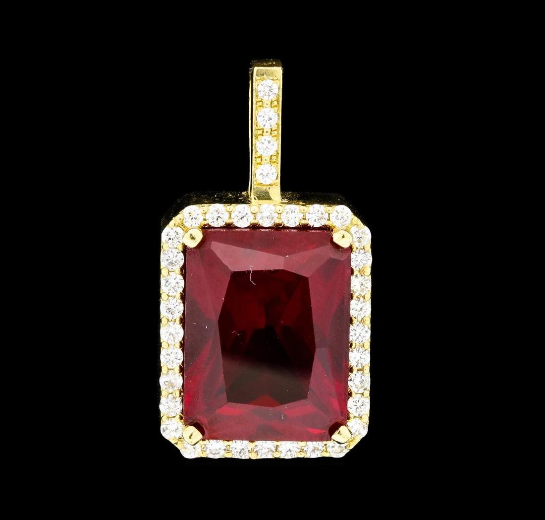 19.50 ctw Lab-Created Ruby and Diamond Pendant - 14KT