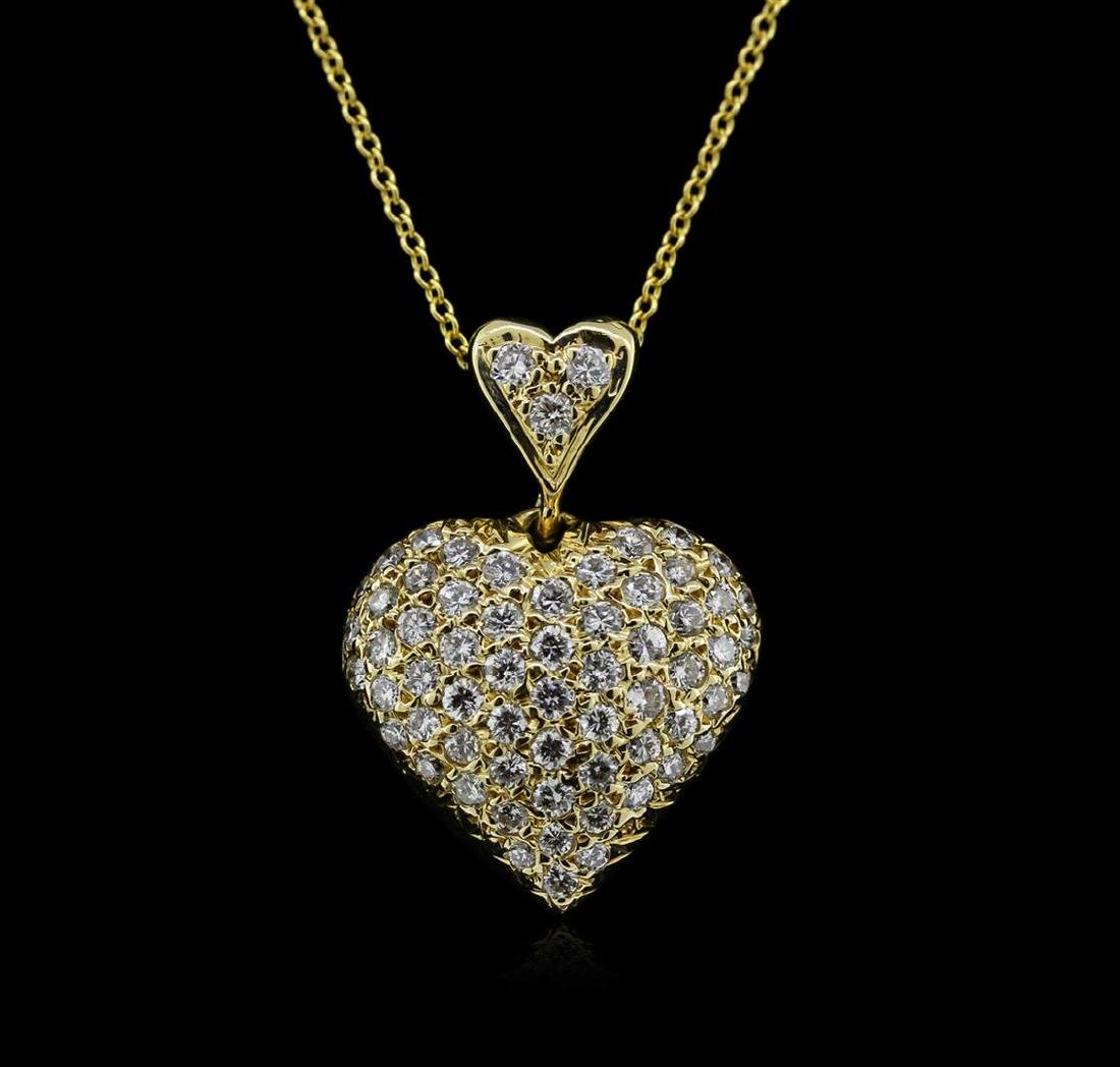 0.95 ctw Diamond Heart Pendant With Chain - 14KT Yellow