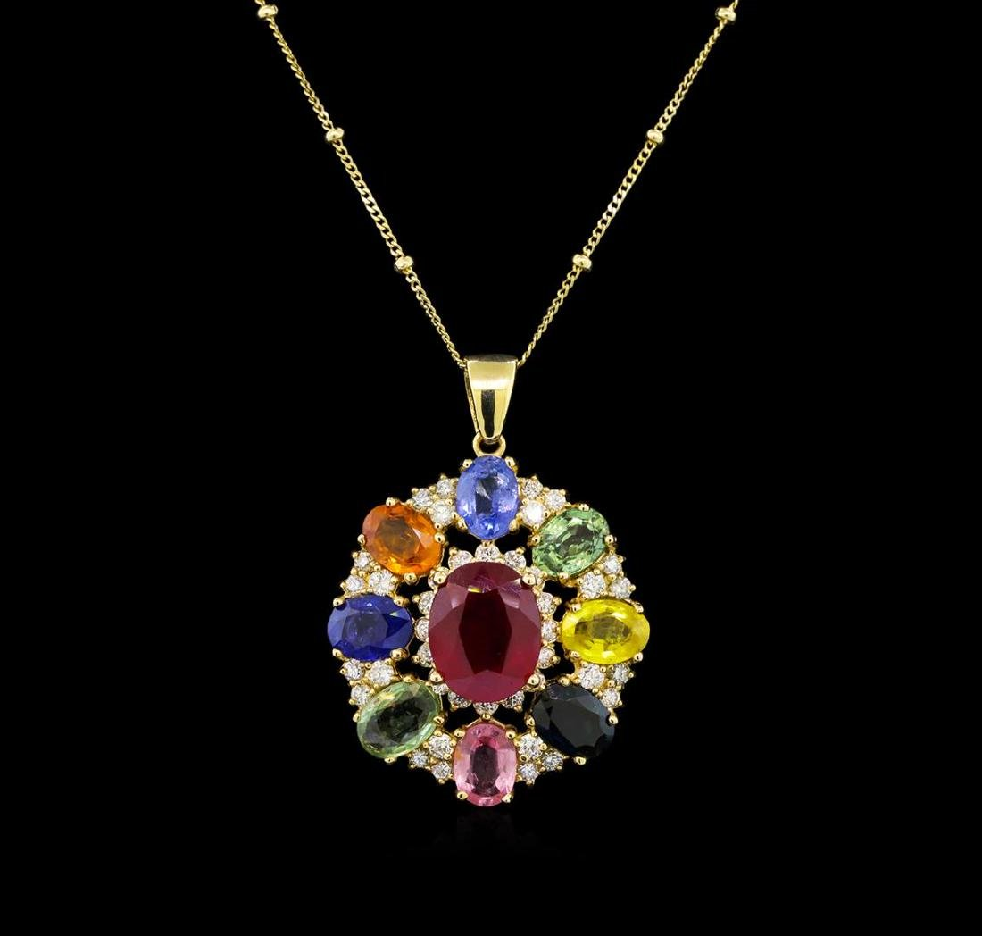14KT Yellow Gold 4.42 ctw Ruby, Sapphire and Diamond