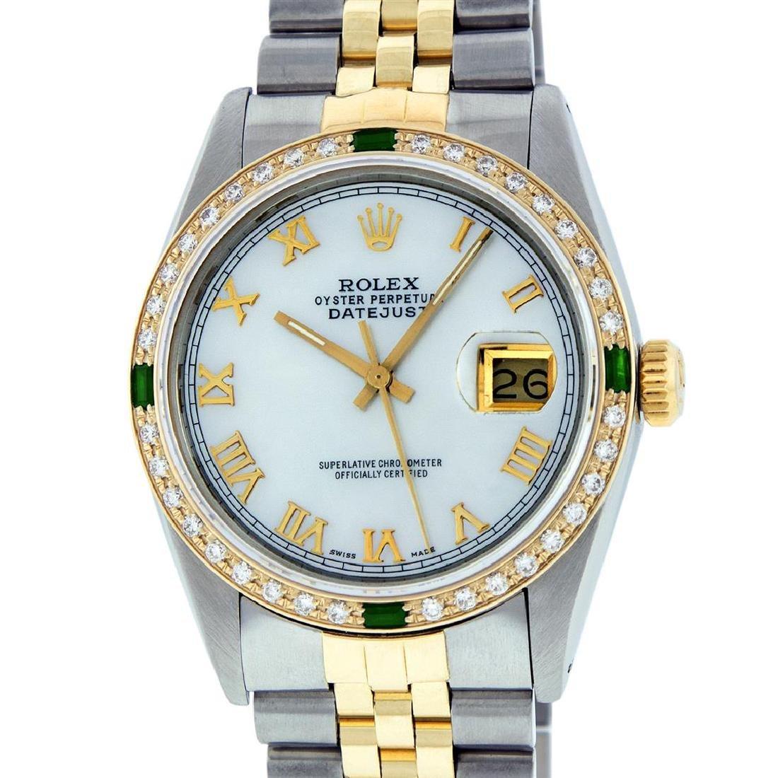 Rolex Mens 2 Tone 14K Mother Of Pearl Diamond & Emerald