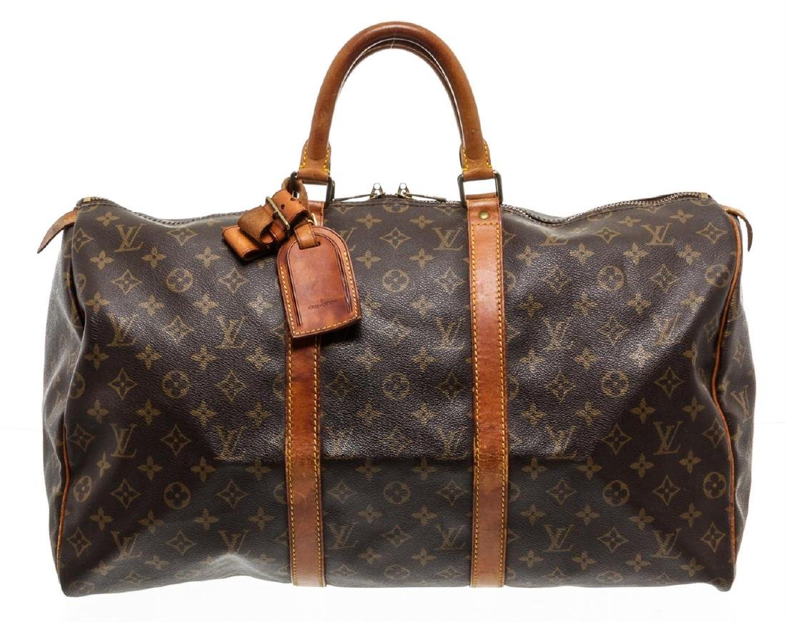 Louis Vuitton Monogram Canvas Leather Keepall 50 cm