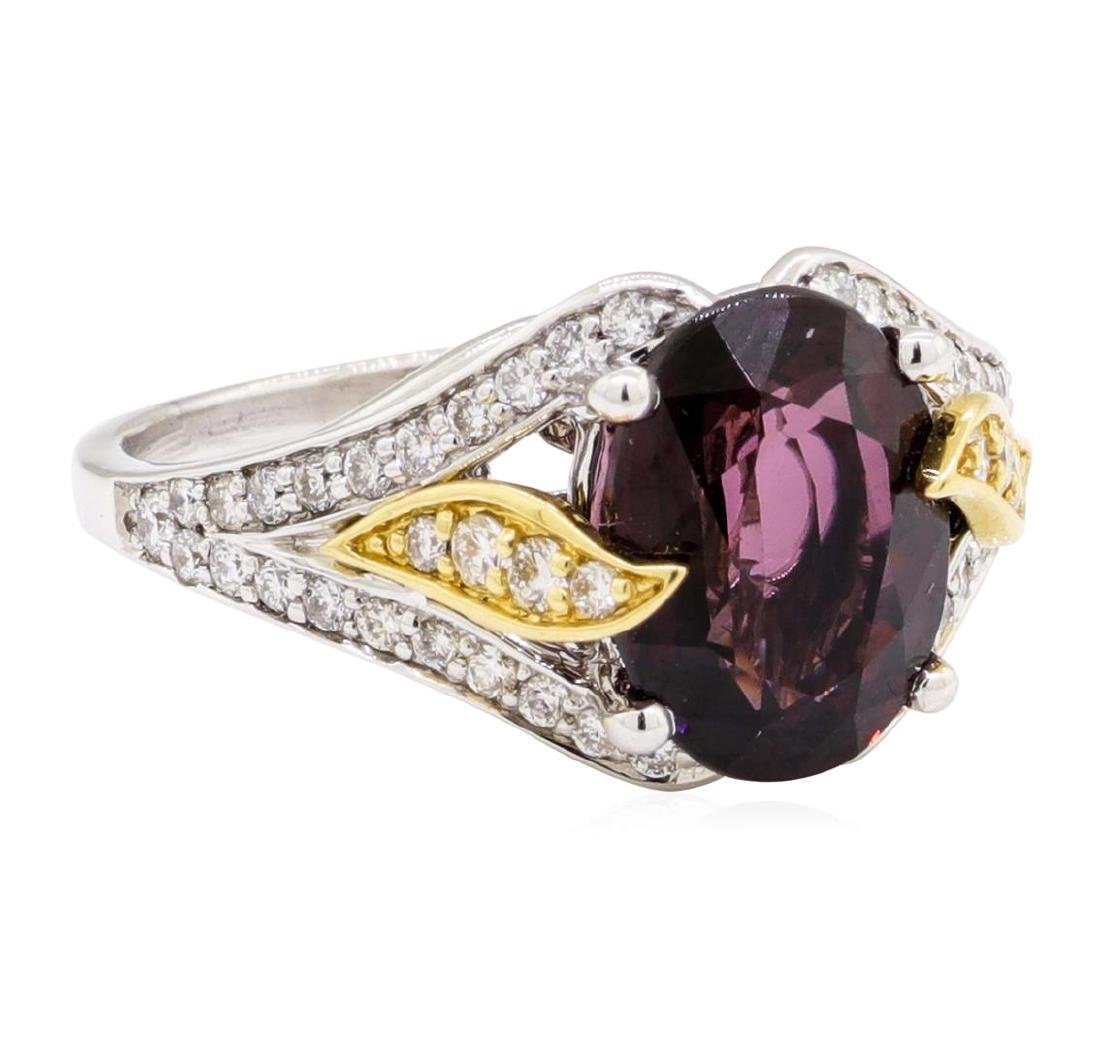 4.11 ctw Red Spinel And Diamond Ring - 18KT White And