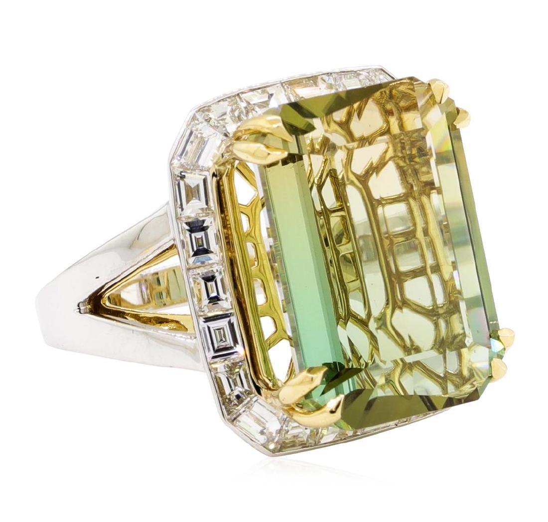 22.01 ctw Bi-Colored Tourmaline And Diamond Ring - 18KT