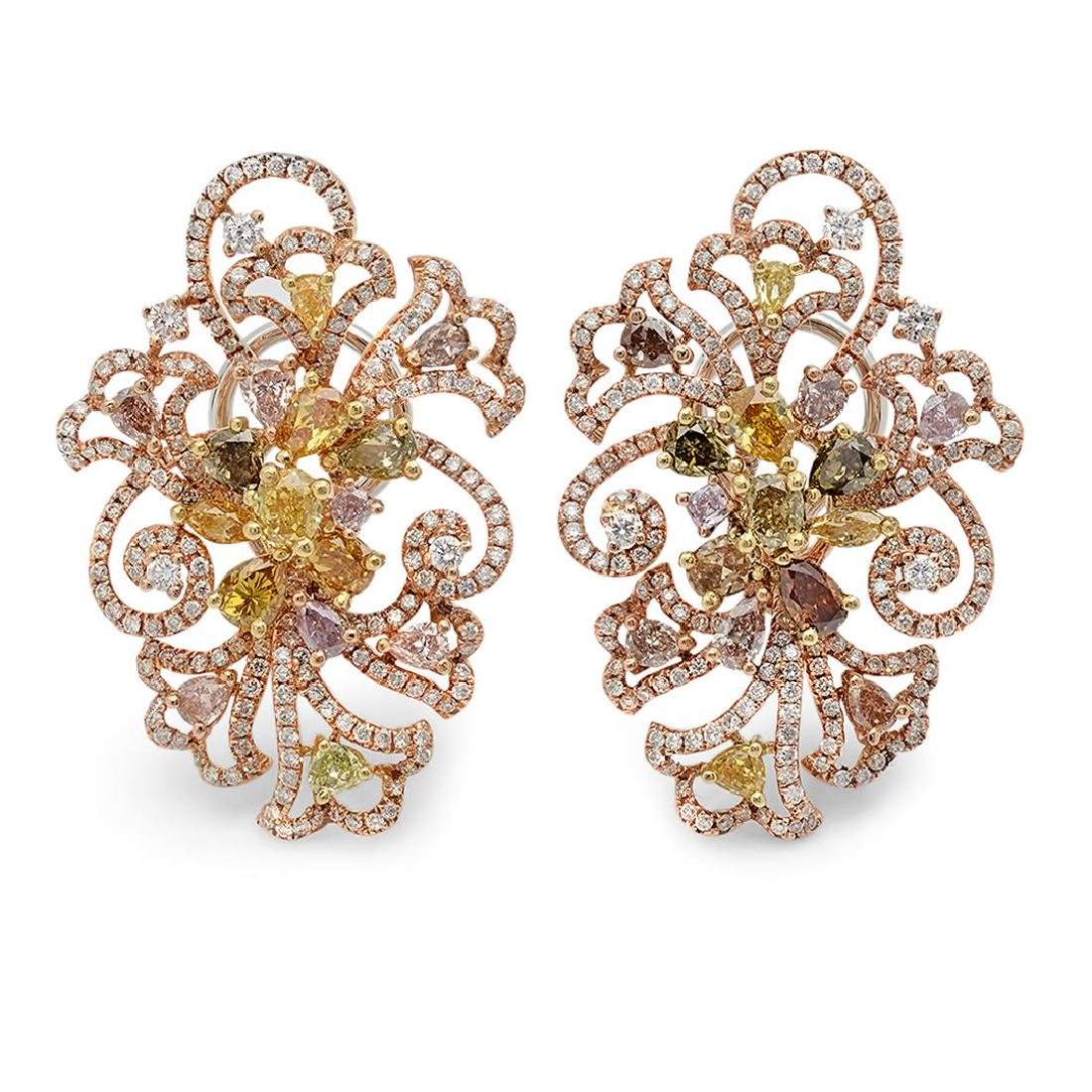 18k Three Tone Gold 6.29CTW Multicolor Dia and Pink