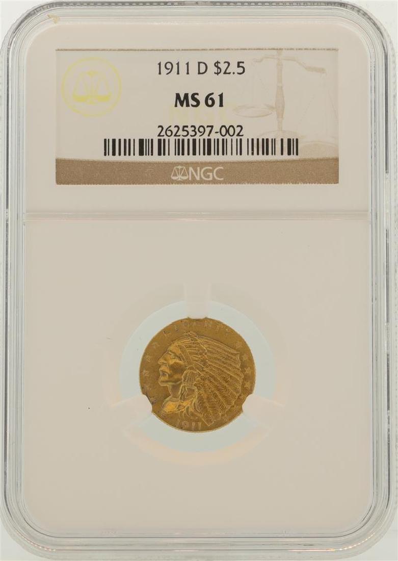 1911-D $2.5 Indian Head Quarter Eagle Gold Coin NGC