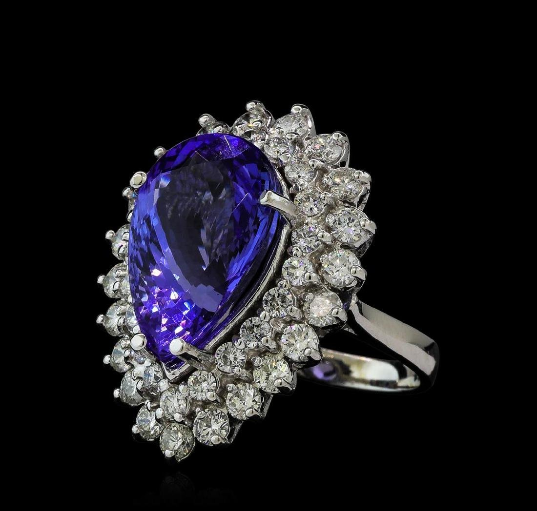 10.90 ctw Tanzanite and Diamond Ring - 14KT White Gold