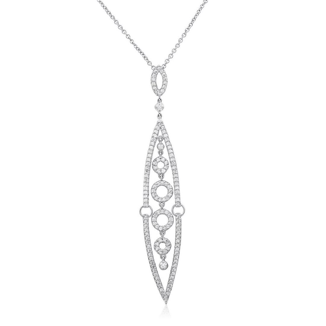 18k White Gold 1.15CTW Diamond Pendant, (SI1 /G-H)