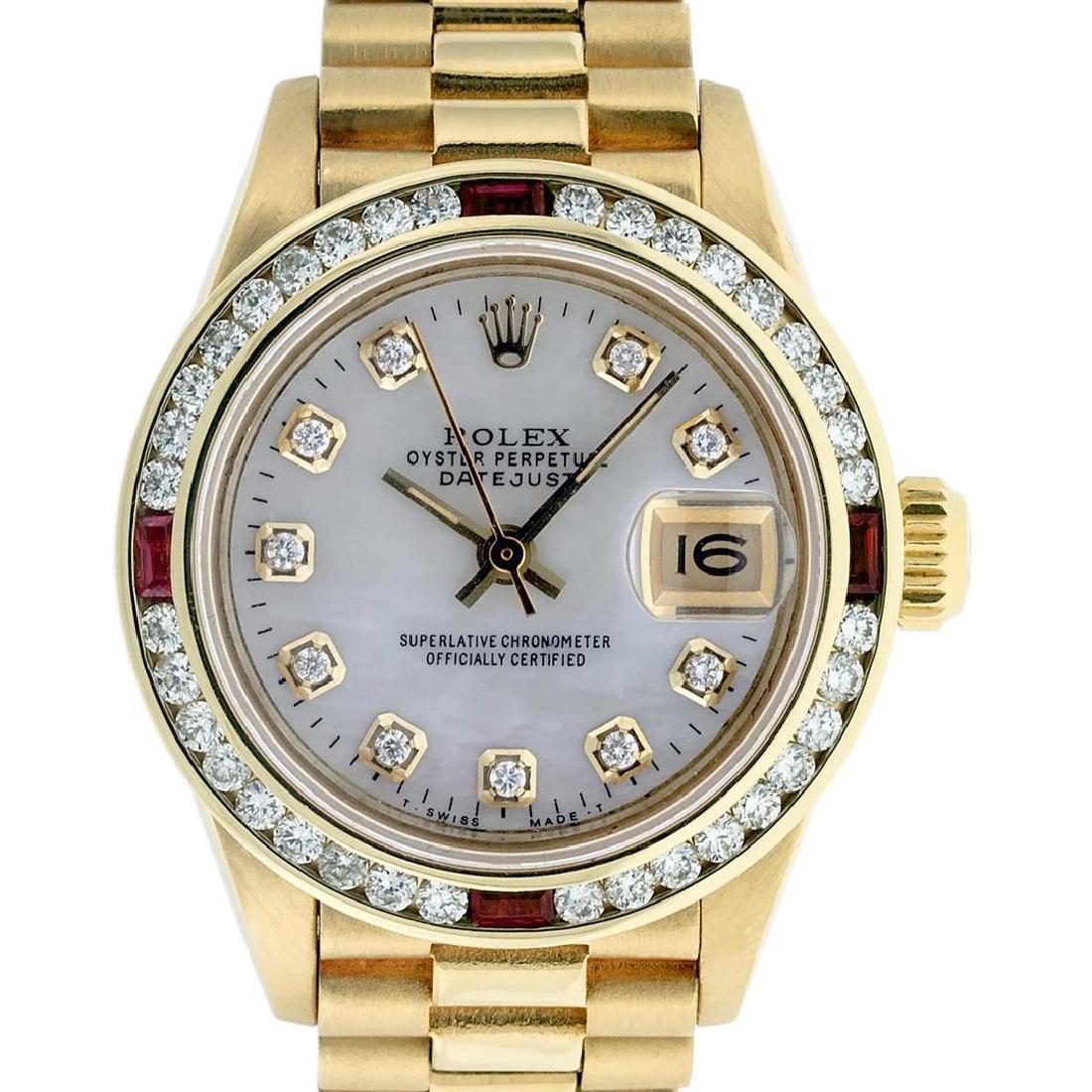 Rolex Ladies 18K Yellow Gold MOP Diamond & Ruby