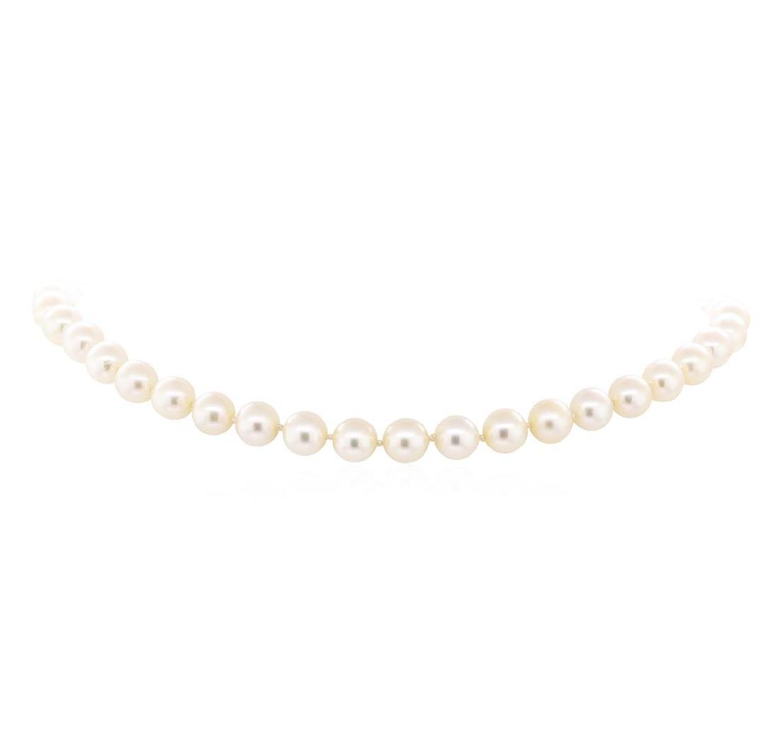 0.85 ctw Diamond, Jade, and Pearl Necklace - 18KT White