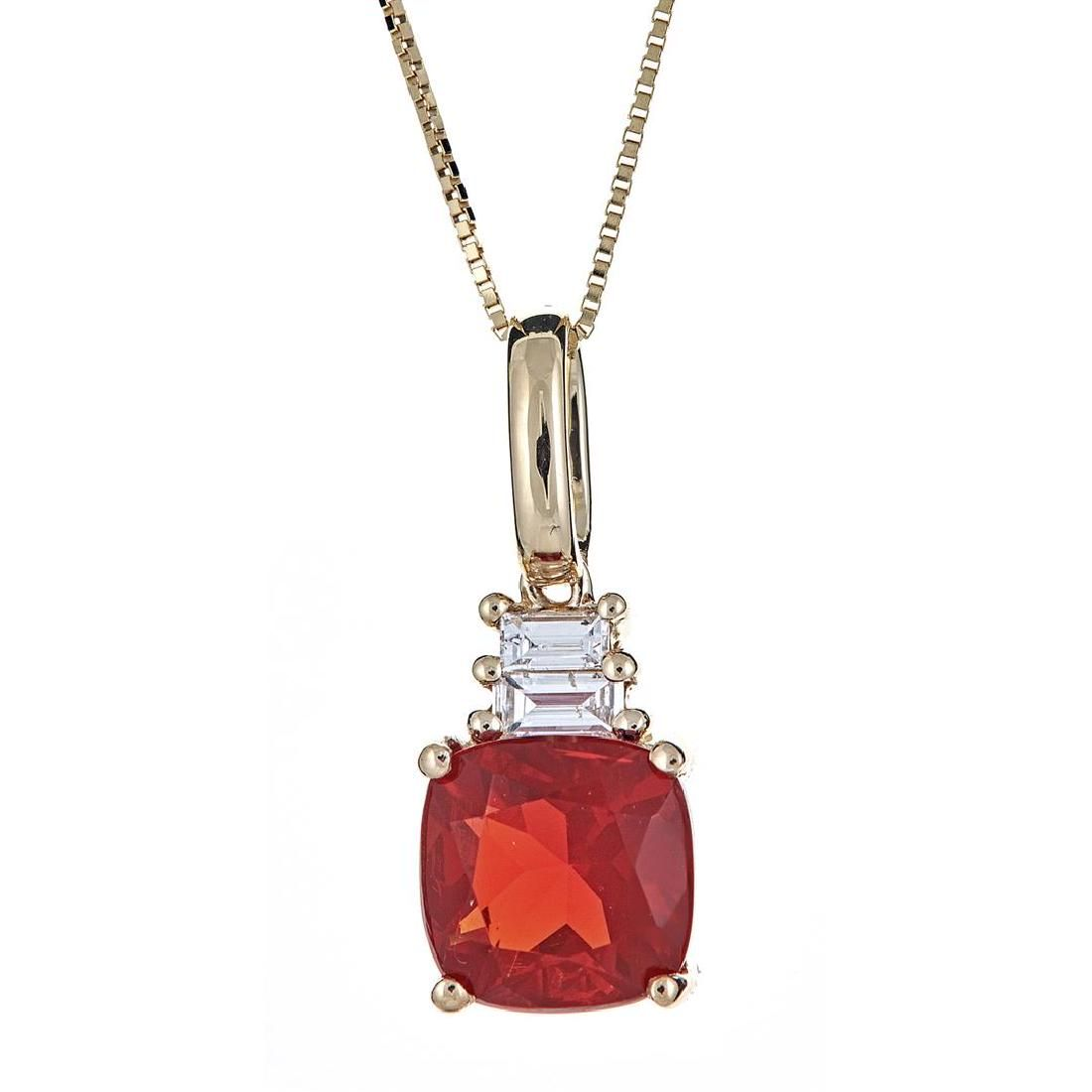 1.29 ctw Fire Opal and Diamond Pendant - 14KT Yellow