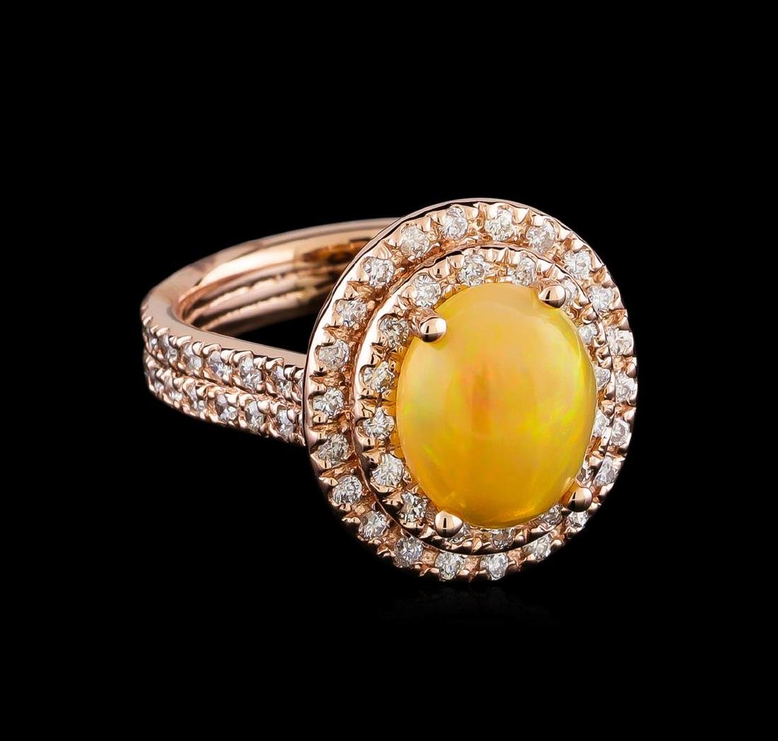 2.40 ctw Opal and Diamond Ring - 14KT Rose Gold
