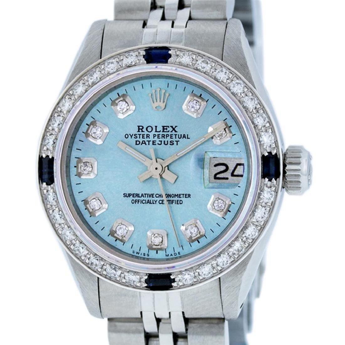 Rolex Ladies Stainless Steel Sky Blue Diamond &