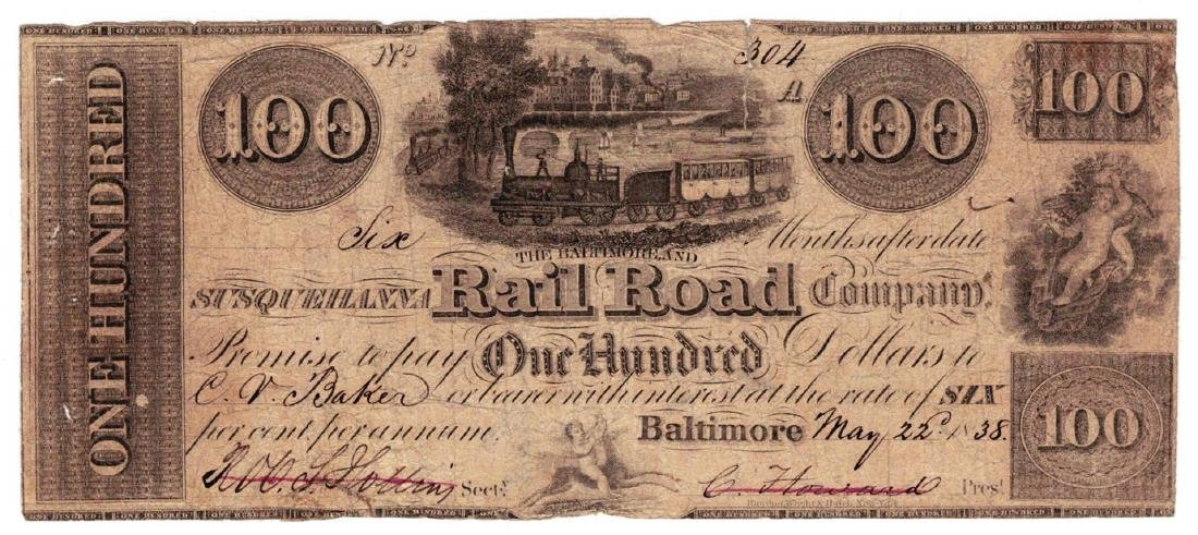 1838 $100 Susqueillvvna Railroad, Co., Baltimore, MD -