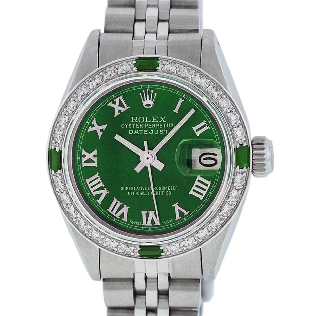 Rolex Ladies Stainless Steel Green Diamond & Emerald