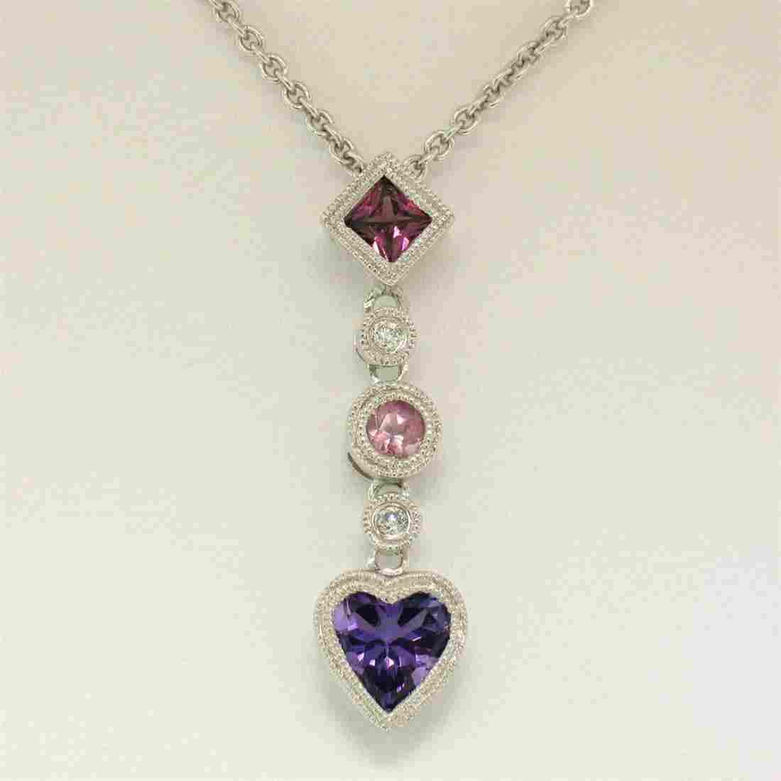 14K White Gold Heart Amethyst Tourmaline Pink Sapphire