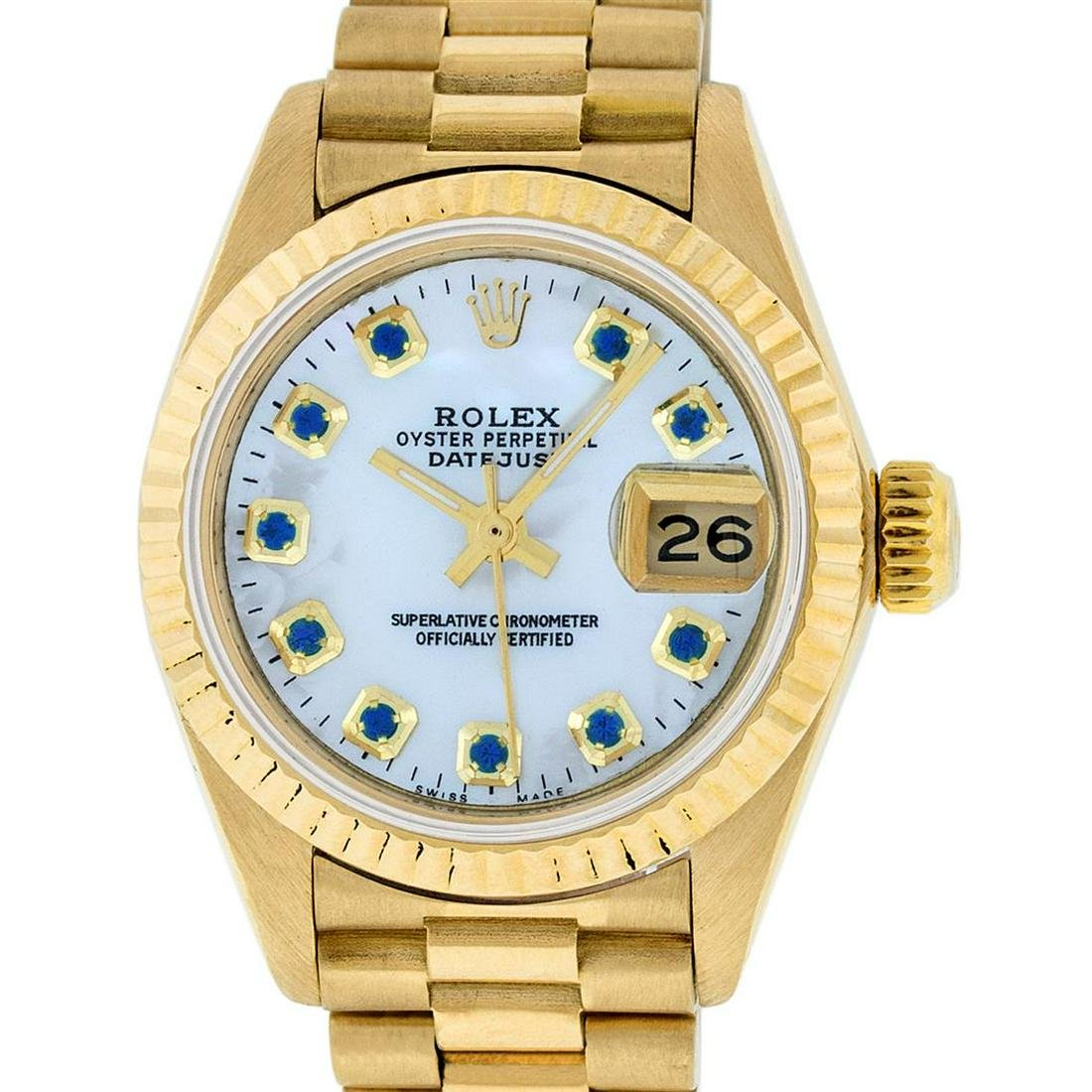 Rolex Ladies 18K Yellow Gold Mother Of Pearl Sapphire