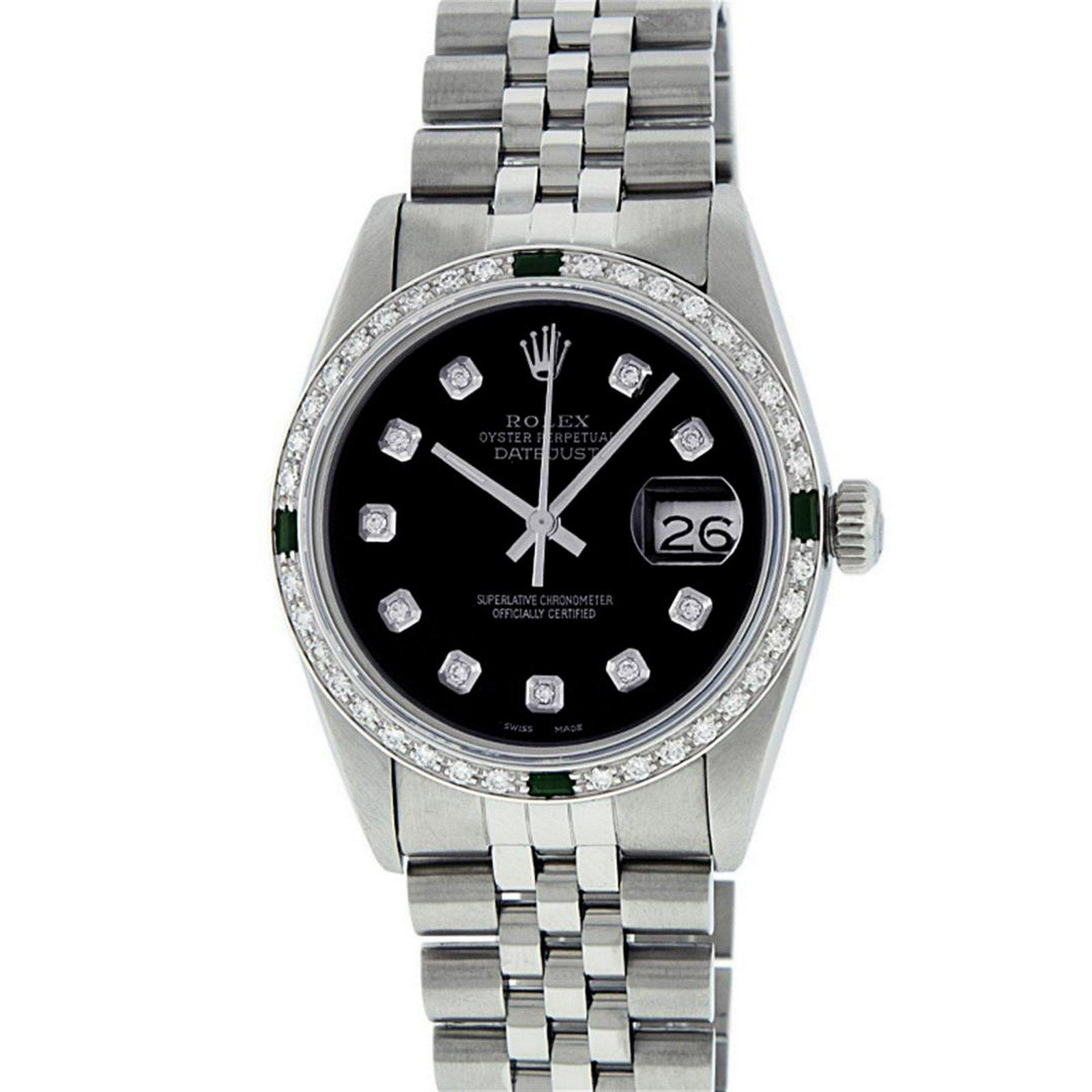 Rolex Mens Stainless Steel Black Diamond & Emerald