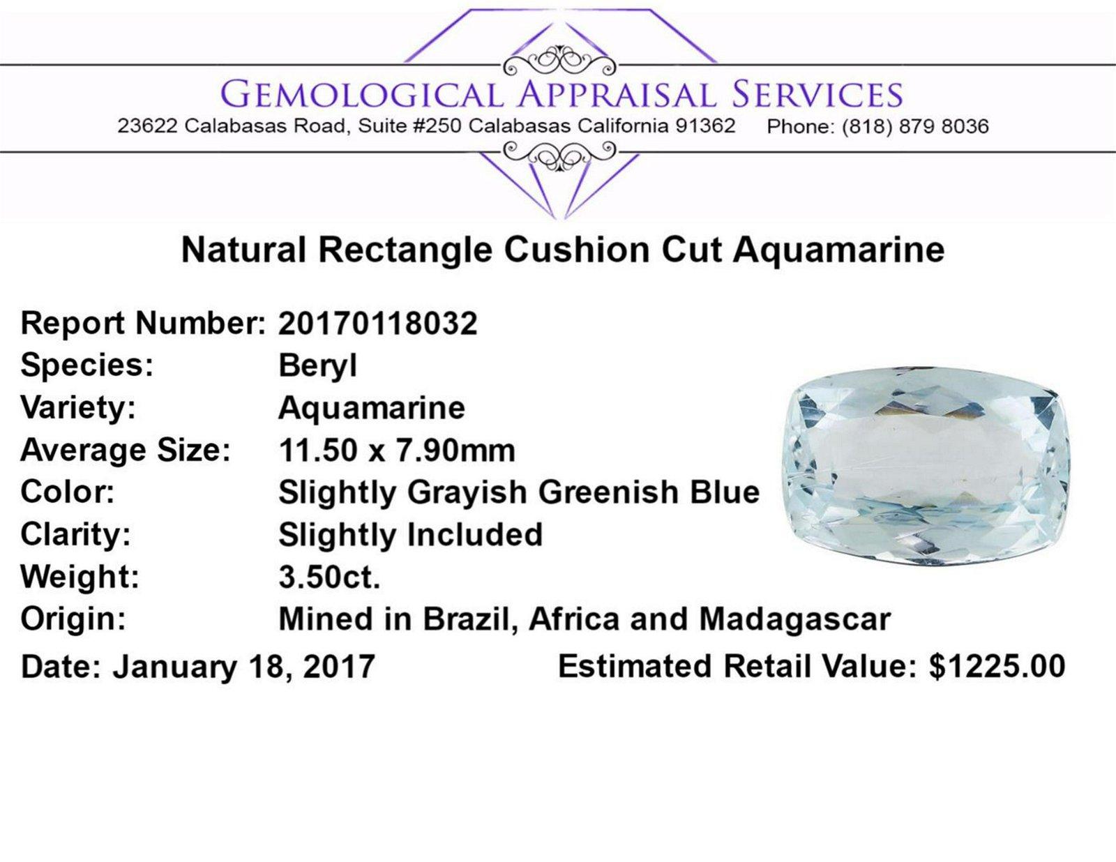 3.50 ct.Natural Rectangle Cushion Cut Aquamarine