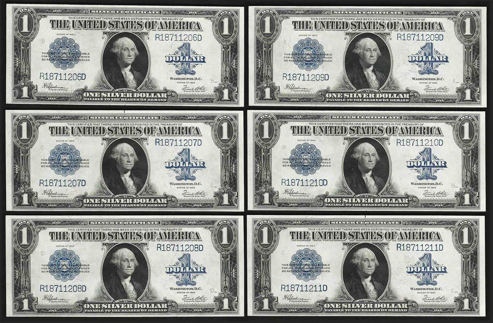 Lot of (6) Consecutive 1923 $1 Silver Certificate Notes