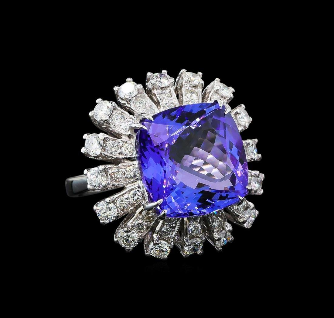 GIA Cert 11.86 ctw Tanzanite and Diamond Ring - 14KT