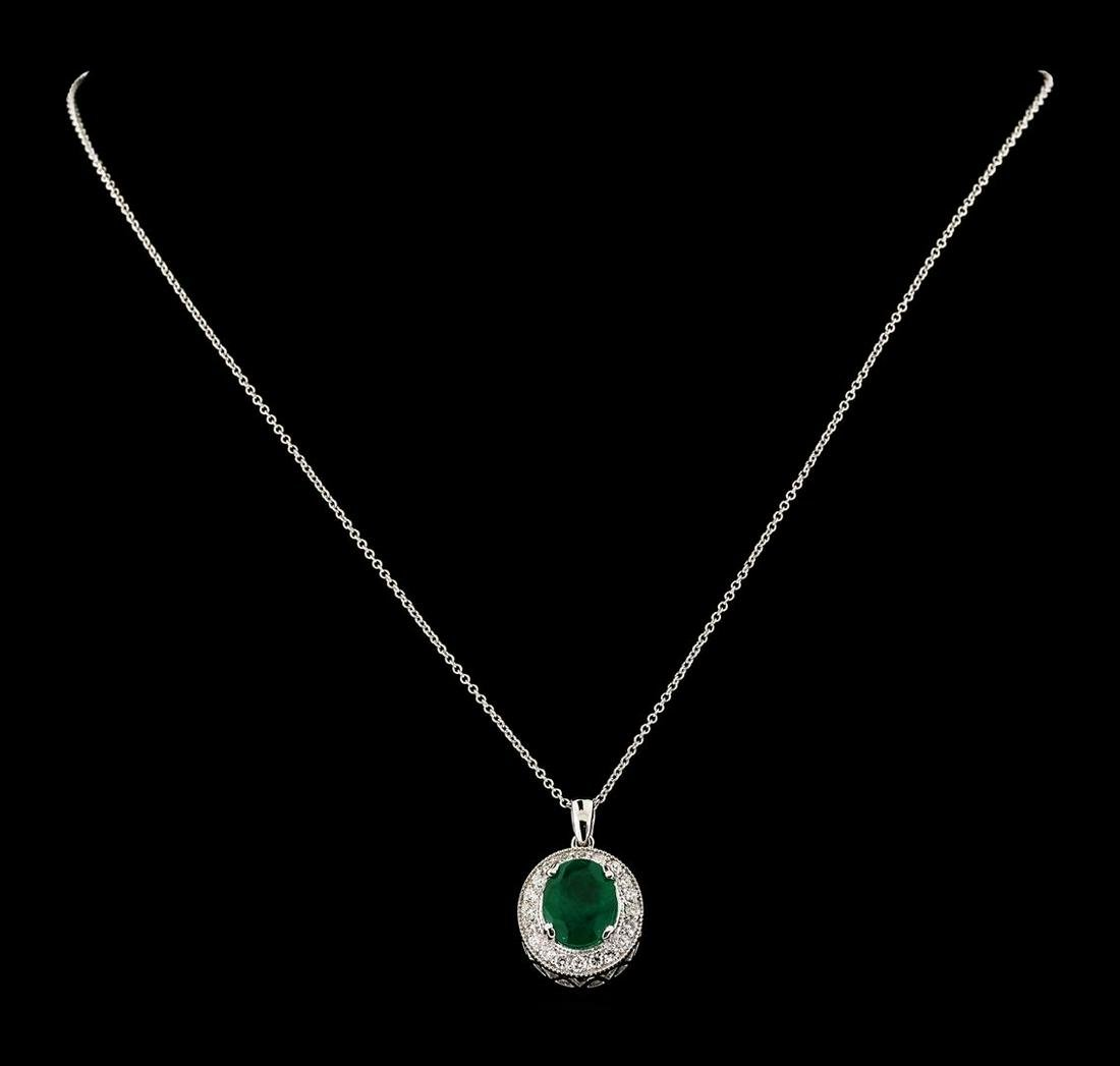 3.66 ctw Emerald and Diamond Pendant With Chain - 14KT