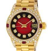 Rolex Ladies 18K Yellow Gold Diamond Lugs Red Vignette