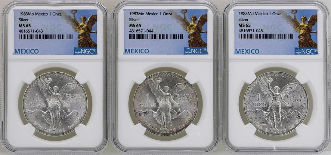 Lot of (3) 1983Mo Mexico Libertad Onza Silver Coins NGC