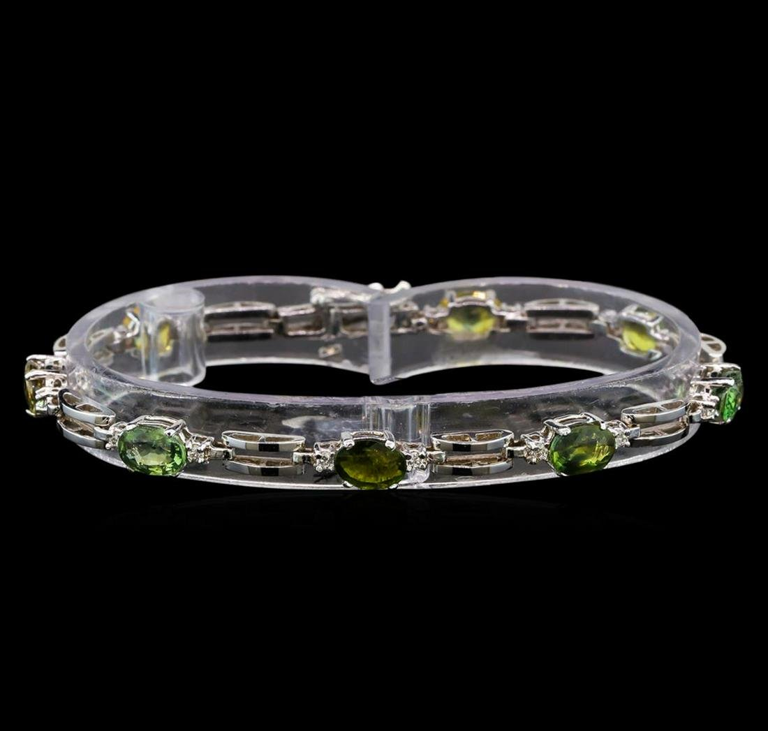 14KT White Gold 7.68 ctw Multicolor Sapphire and