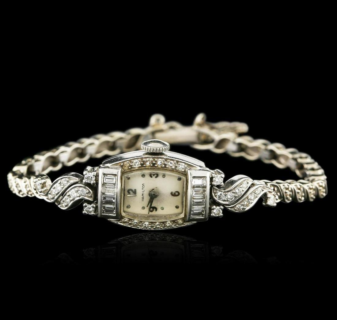 Hamilton Platinum 1.15 ctw Diamond Vintage Ladies Watch