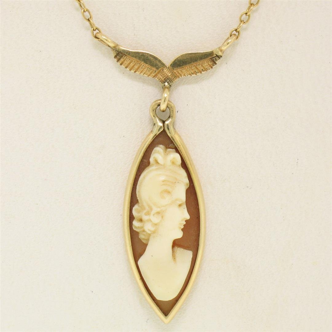 14k Yellow Gold Marquise Carved Shell Cameo Fish