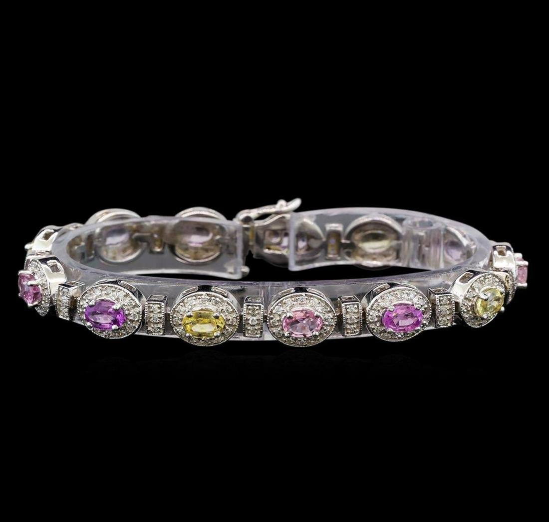 14KT White Gold 6.67 ctw Multicolor Sapphire and