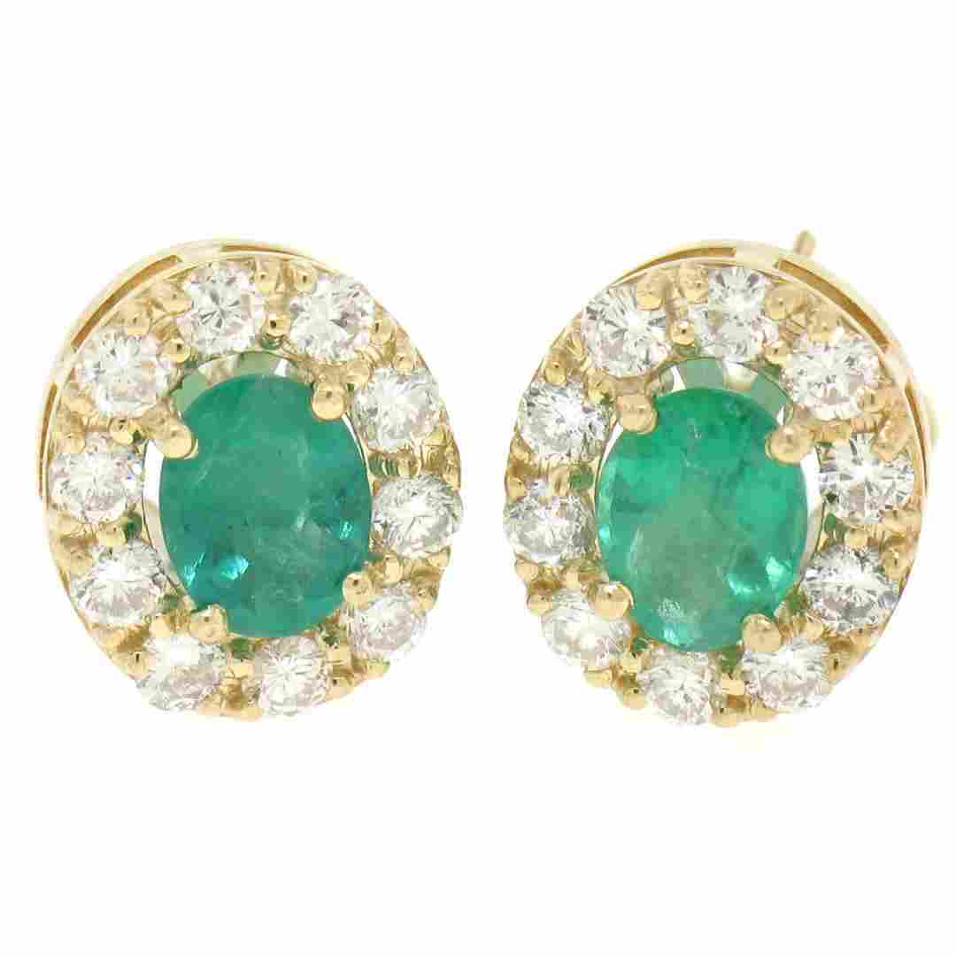 14k Yellow Gold 3.71 ctw Oval Emerald & Round Diamond