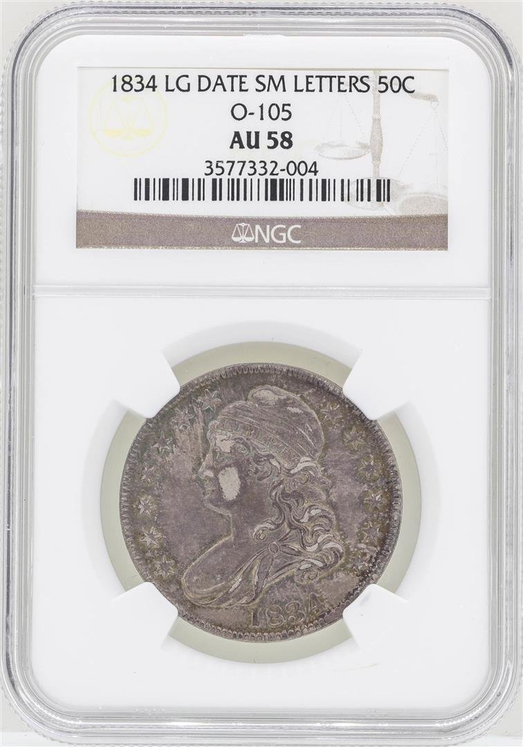 1834 Large Date Small Letters Capped Bust Half Dollar