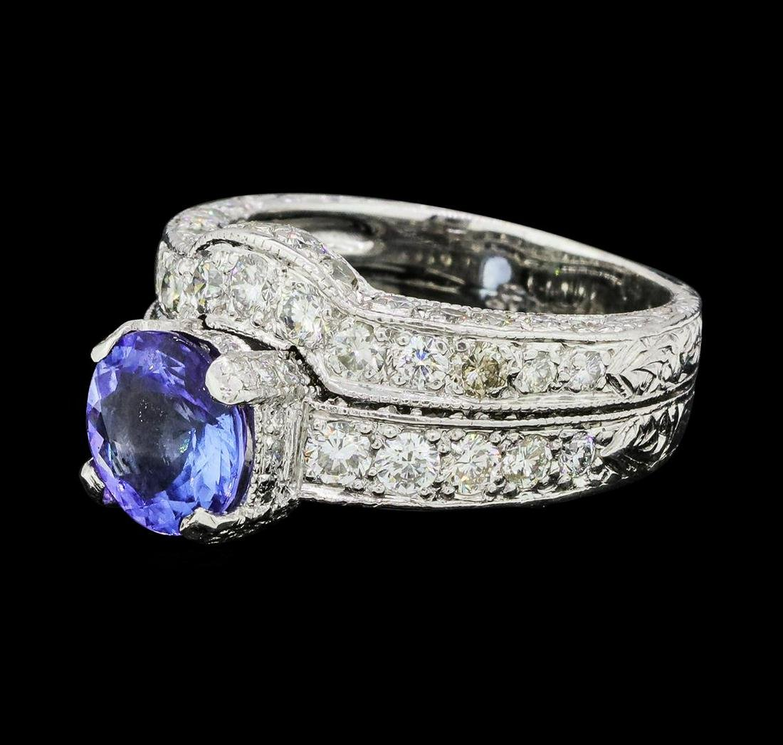 2.50 ctw Tanzanite And Diamond Ring And Attached Band -