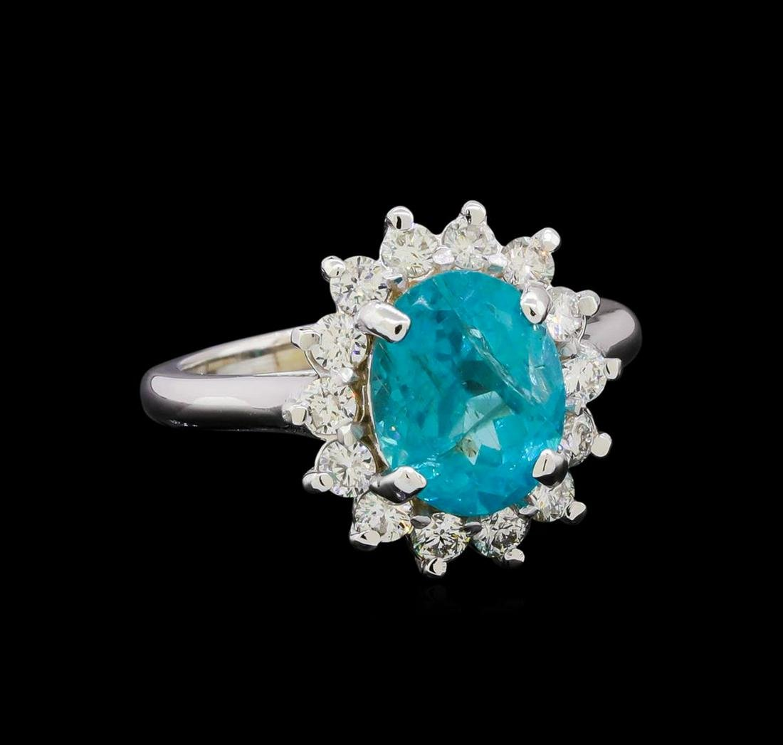 3.15 ctw Apatite and Diamond Ring - 14KT White Gold