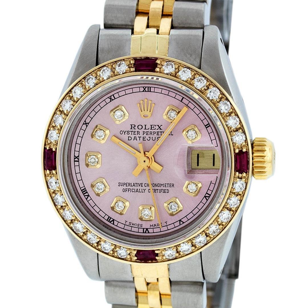 Rolex Ladies 2 Tone 14K Ice Pink Diamond & Ruby