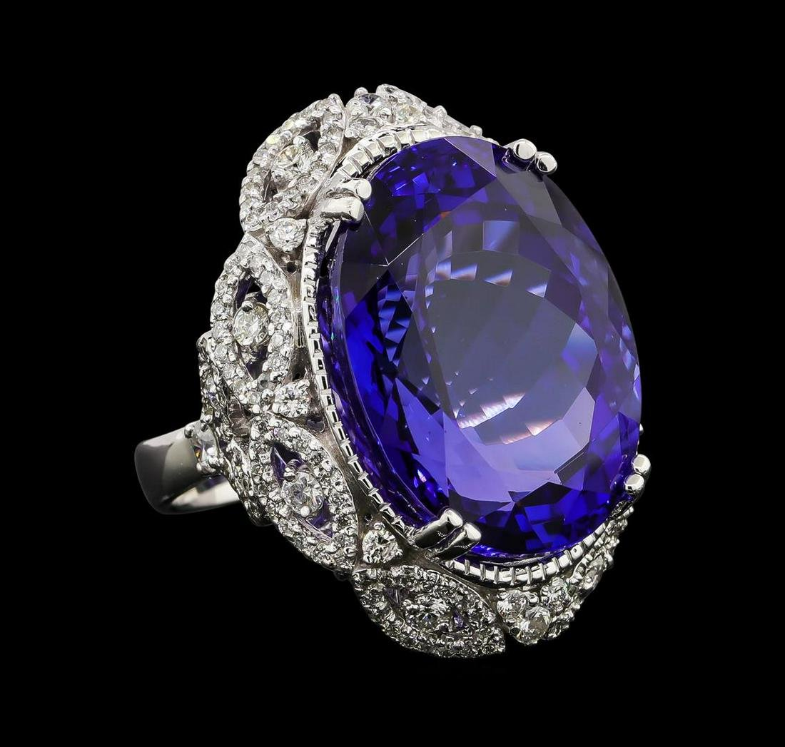 GIA Cert 45.32 ctw Tanzanite and Diamond Ring - 14KT