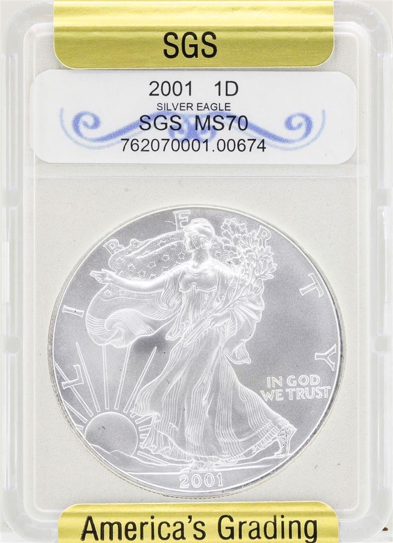 2001 $1 American Silver Eagle Coin SGS MS70